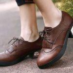 Коричневые женские кожаные оксфорды